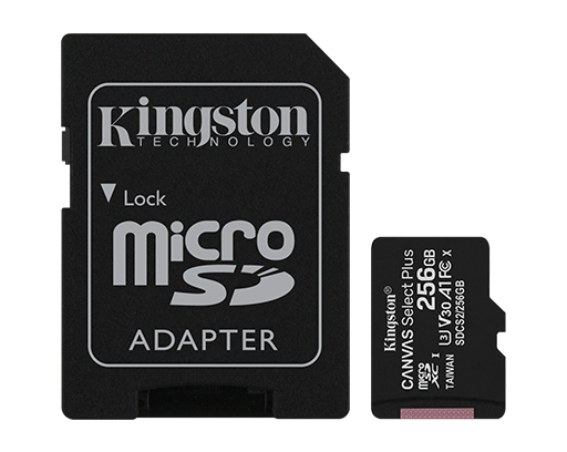 256GB microSD Class10 A1 UHS-I + SD adapter  Kingston Canvas Select Plus