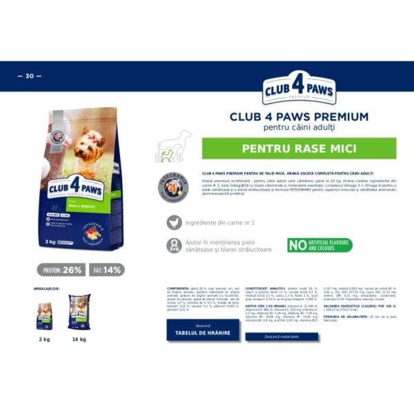 CLUB 4 PAWS PREMIUM hrana pentru caini talie MICA 14kg