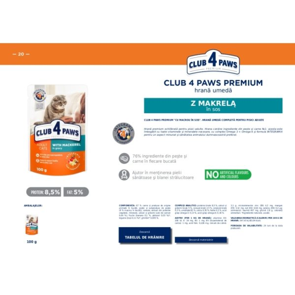 CLUB 4 PAWS Premium hrana cons.pentru pisici-Makreli in jele 0.100kg