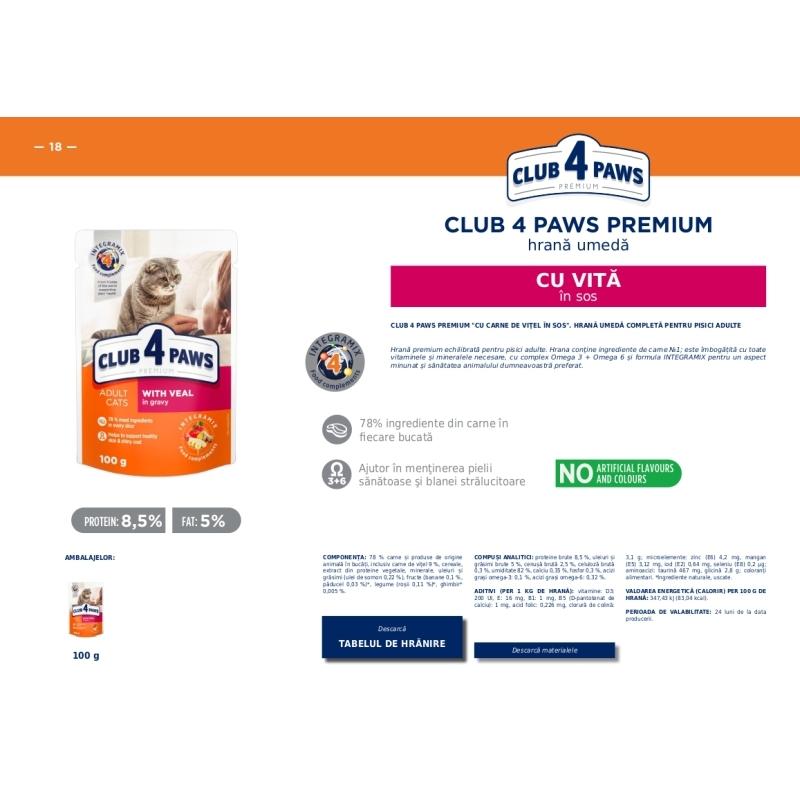 CLUB 4 PAWS Premium hrana cons.pentru pisici Vita in sos 0.100kg