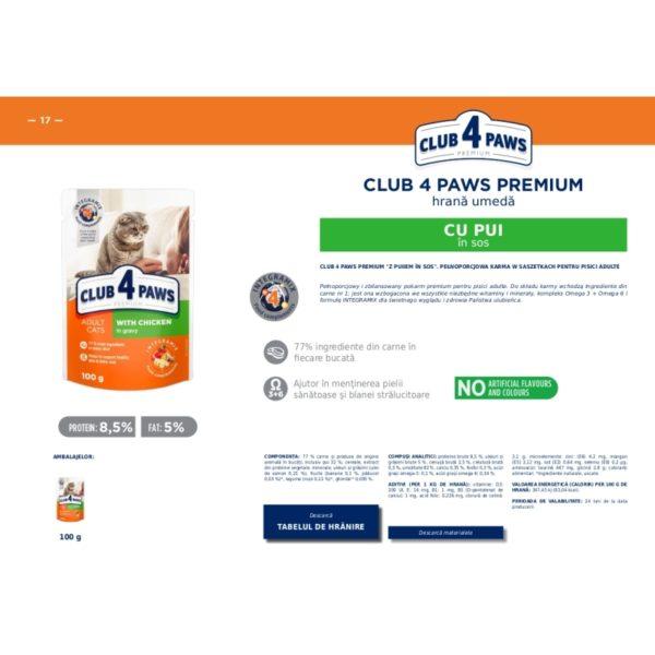 CLUB 4 PAWS Premium hrana cons.pentru pisici- gaina in sos 0.100kg