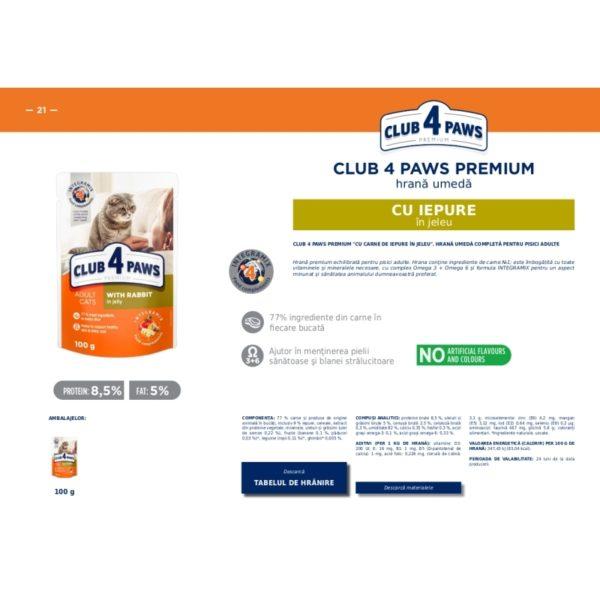 CLUB 4 PAWS Premium hrana cons.pentru pisici iepure in jele 0.100kg
