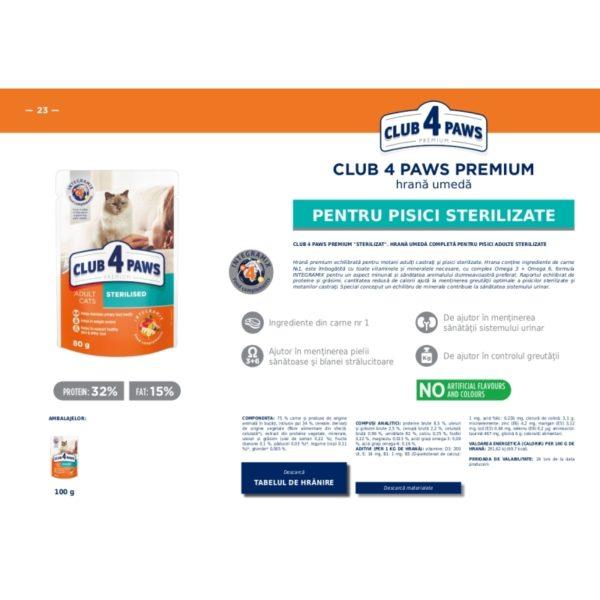 CLUB 4 PAWS Premium hrana cons.pentru pisici sterilizate 0.080kg