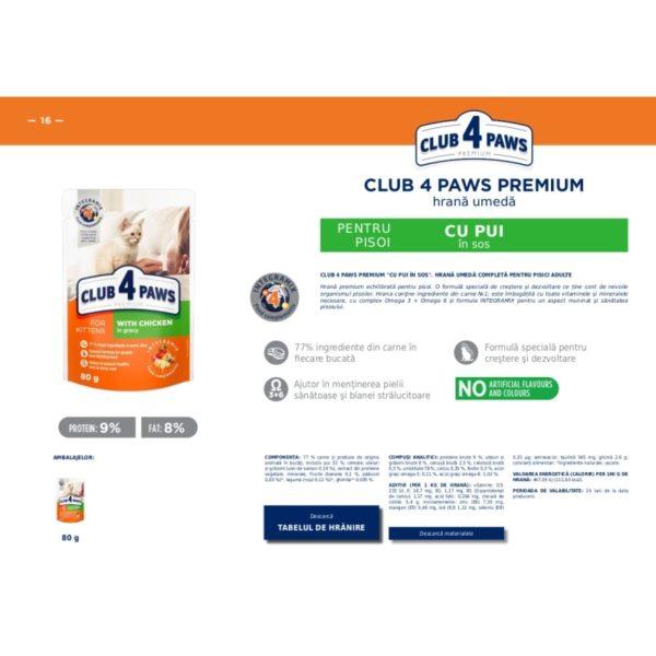 CLUB 4 PAWS Premium hrana cons.pentru pisoi- gaina 0.080kg