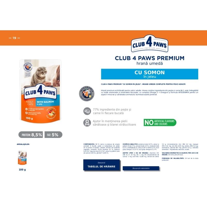 CLUB 4 PAWS Premium hrana cons.pentrupisici-Somon in jele 0.100kg