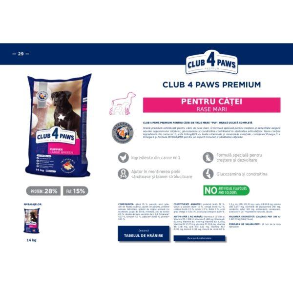 CLUB 4 PAWS Premium hrana pentru catei Mare 14kg