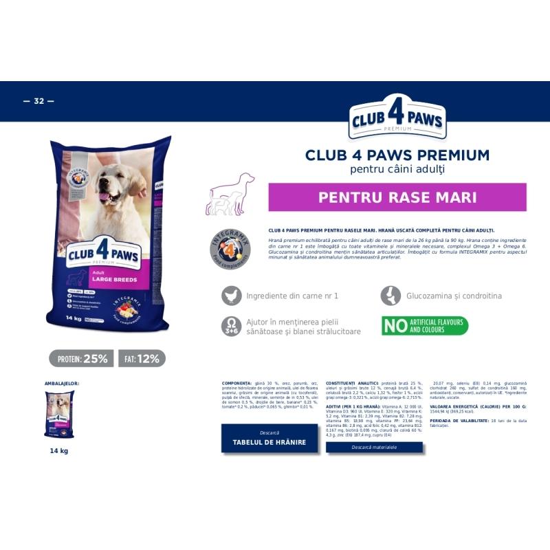 CLUB 4 PAWS Premium pentru caini talie MARE 14kg