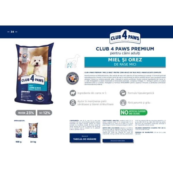 CLUB 4 PAWS Premium pentru caini talie mica miel si orez 14kg