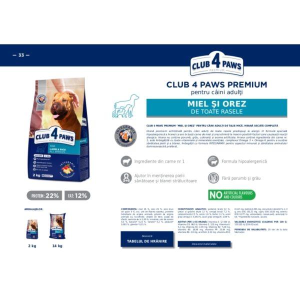 CLUB 4 PAWS Premium pentru caini toate rase miel si orez 14kg