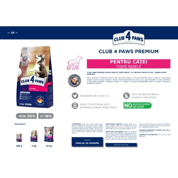 CLUB 4 PAWS Premium pentru catei-cu continut ridicat de pui 2kg