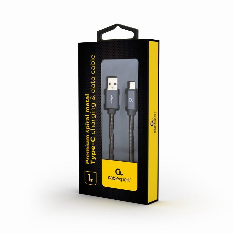 Premium spiral metal Type-C USB charging
