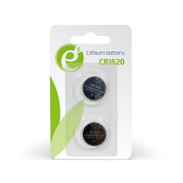 Gembird Button cell CR1620, 2pcs, High performance and long lifetime