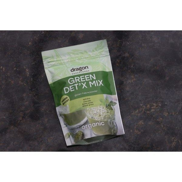 Green Det'x Mix( Spirulina, Chlorelia, pulbere de orz, pulbere din tulpini degrau) Dragon Superfood 200gr