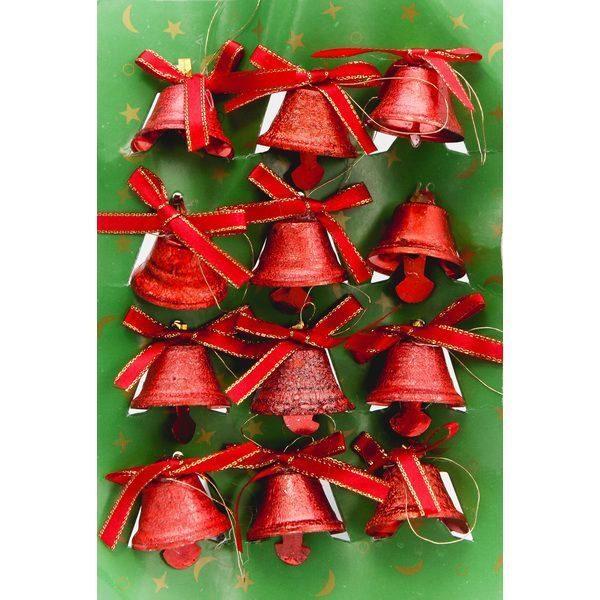 Украшение колокольчики со льдом 12шт (3 цвета)
