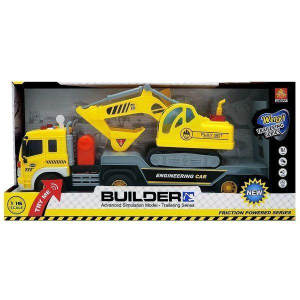 """1:16 Инерционная Машина """"Construction Trailer Truck """" (свет / звук)"""