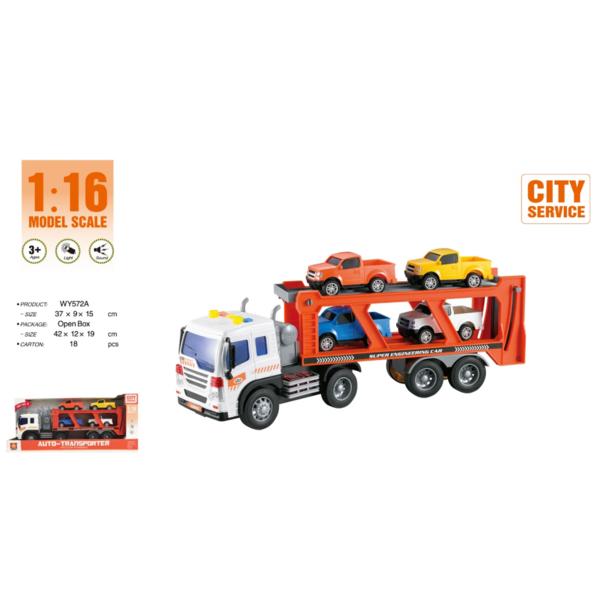 """1:16 Инерционная машина """"Auto Transport Trailer Truck"""" (свет"""