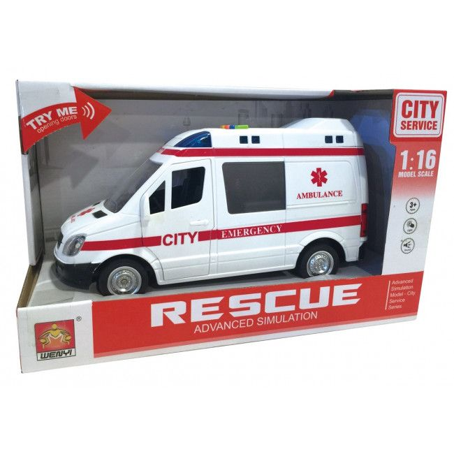 "1:16 Masina cu inertie ""Ambulance Van"" (lumina / sunet)"