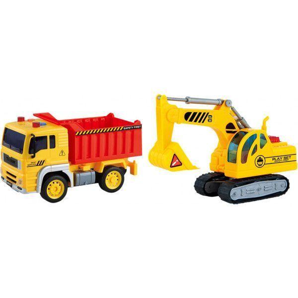 """1:20 Инерционная Машина """"Dump Truck"""" (свет / звук) c 1:18 Экскаватор"""