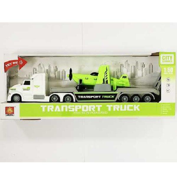 """1:50 Masina cu inertie """"Transport Truck"""" cu avion (lumina/sunet)"""