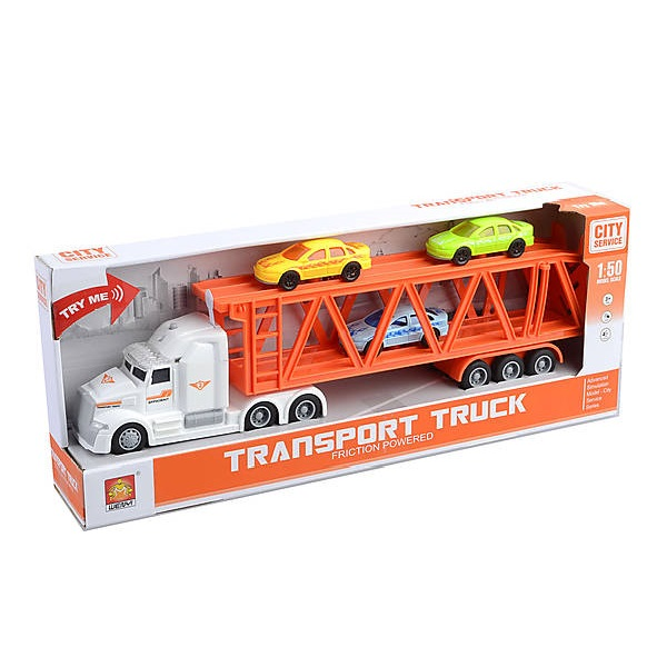 """1:50 Masina cu inertie """"Transport Truck"""" cu masini (lumina/sunet)"""