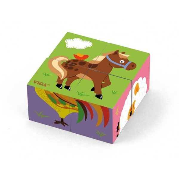 4pcs 6-side Cube Puzzle - Farm Animals