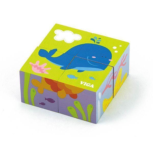 4pcs 6-side Cube Puzzle - sea