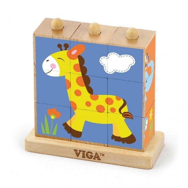 9pcs Stacking Cube Puzzle - Wild Animals