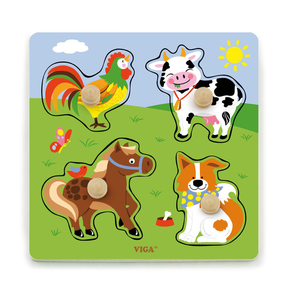 Big Wooden Knob Puzzle - Farm Animals