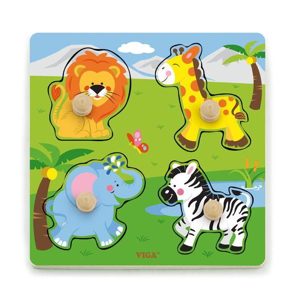 Big Wooden Knob Puzzle - Wild Animals