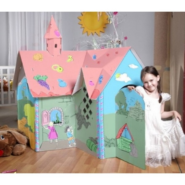 Căsuță de colorat din carton CANDY HOUSE 130x130x150 cm