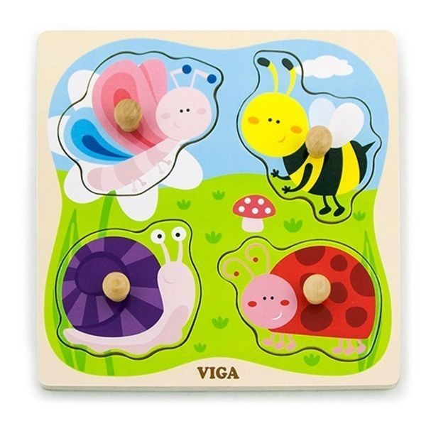 Flat Puzzle w/Big Wooden Knob - Insect