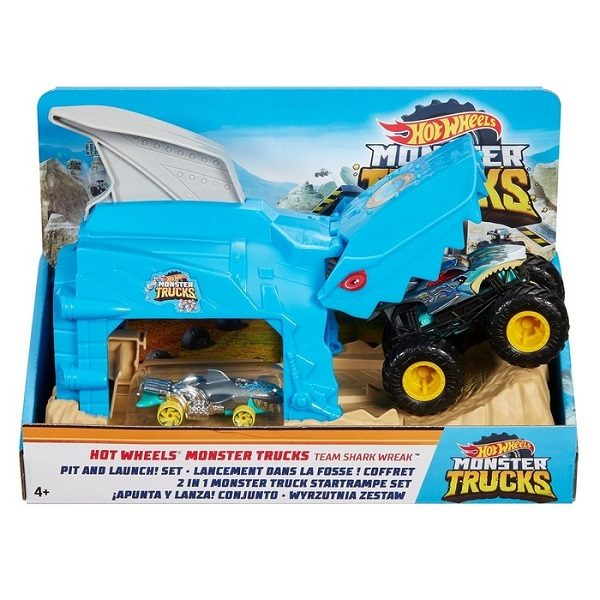 """Hot Wheels """"Monster Trucks"""" Set """"Pit and Launch"""""""