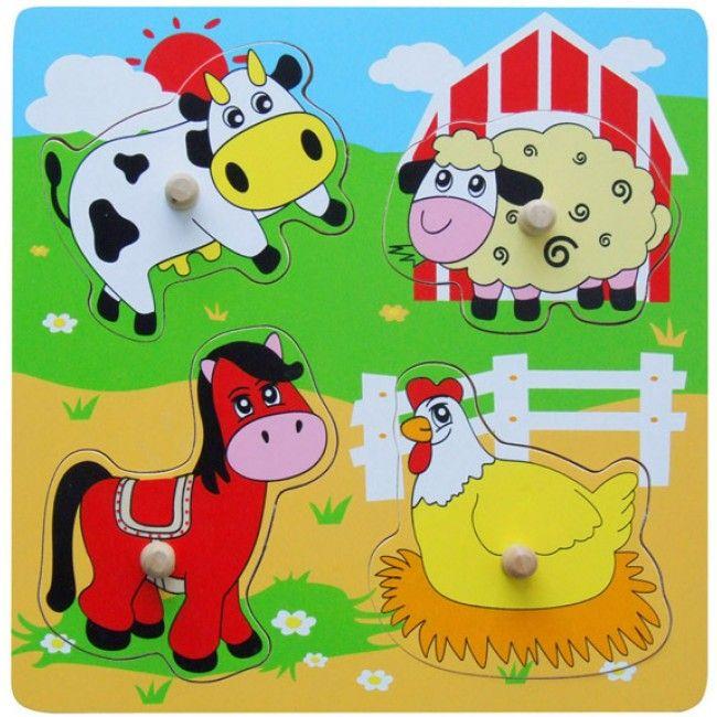 Wooden Flat Puzzle - Farm Animals