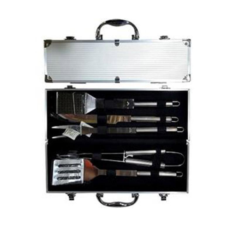 Set instrumente pentru gratar BBQ, 5buc in valiza 38X14X8cm