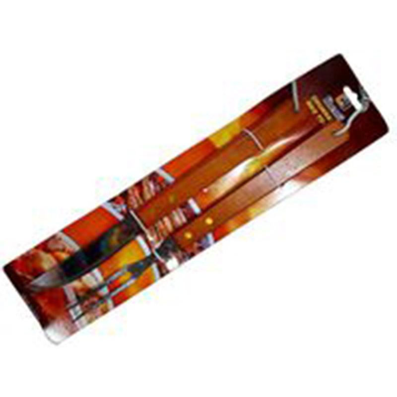 Instrumente pentru gratar BBQ 2buc (cutit si furculita 40cm cu maner din lemn)