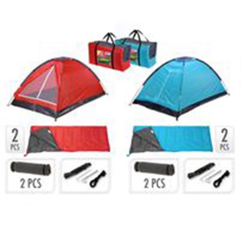 Set pentru camping: cort 200X120X100cm, 2 paturi